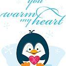 "PENGUIN ""you warm my heart"" by Kat Massard"
