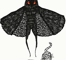 Mothman and a Cat by BettyRocksteady