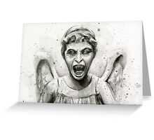 Weeping Angel Watercolor - Doctor Who Fan Art Greeting Card