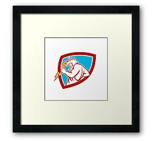 Zeus Wielding Thunderbolt Shield Retro Framed Print