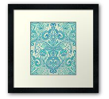 Botanical Geometry - nature pattern in blue, mint green & cream Framed Print