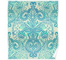 Botanical Geometry - nature pattern in blue, mint green & cream Poster