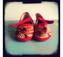 Tiny toes - red chinese baby shoes Photographic Print