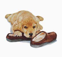 cute puppy golden retriever cuddling slippers Kids Clothes