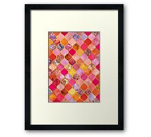 Hot Pink, Gold, Tangerine & Taupe Decorative Moroccan Tile Pattern Framed Print