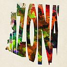 Arizona Typographic Watercolor Map by A. TW