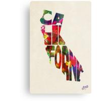 California Typographic Watercolor Map Metal Print