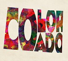 Colorado Typographic Watercolor Map by A. TW