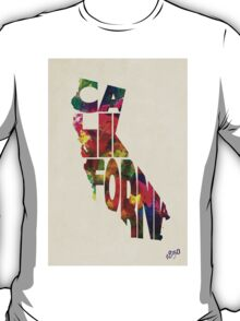 California Typographic Watercolor Map T-Shirt