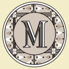 1920s Pink Champagne Gatsby Monogram letter M by CecelyBloom