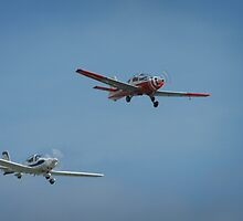 Biplanes fly in tandem  by miradorpictures