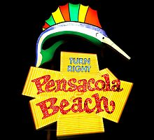 Pensacola Beach Sign by Larry Beat