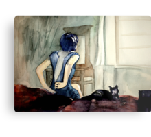 maybe she was more cat than human, she thought Metal Print