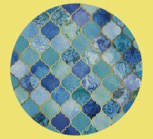 Cobalt Blue, Aqua & Gold Decorative Moroccan Tile Pattern Kids Clothes