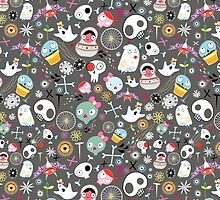 pattern of funny skulls and ghosts  by Tanor