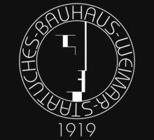 Bauhaus (Art School) -  original logo 1919 (White on Black) by James Ferguson - Darkinc1