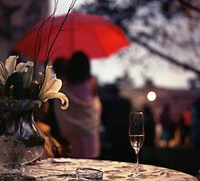 Summer rain - glass of champagne on table in garden wedding party Hasselblad  analog film still life photo by edwardolive