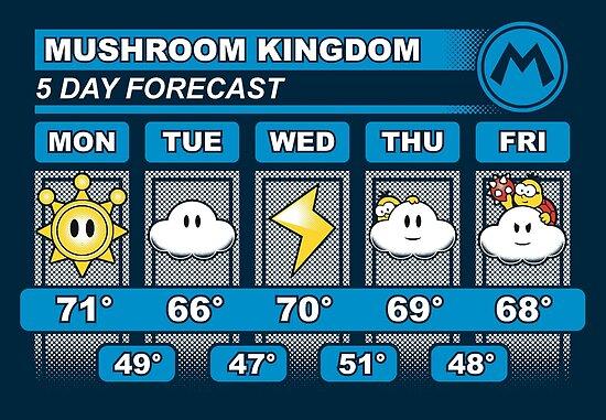 Mushroom Kingdom 5 Day Weather Forecast by Adho1982