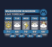 Mushroom Kingdom 5 Day Weather Forecast T-Shirt