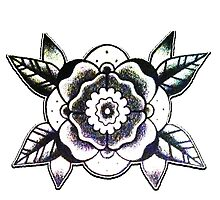 Geometric Flower Tattoo Flash Design by DRtattoo
