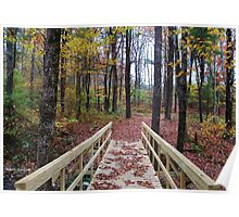 Bridge in the Autumn Forest Poster