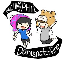 Amazingphil & Danisnotonfire cartoon Photographic Print