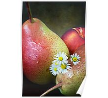 Pears and Daisies Poster
