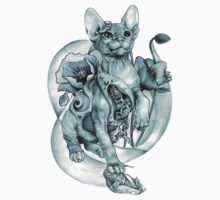 steampunk tattoo cat kitten biomechanics mechanics vintage Kids Clothes