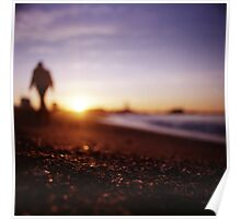 Man walking on beach at sunset square color analogue medium format film Hasselblad photograph Poster