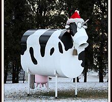 Christmas Cow Sculpture by Mark J Seefeldt
