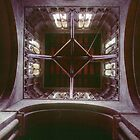 Crossing tower from inside Pershore Abbey Pershore England 198405140045 by Fred Mitchell