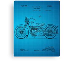 Harley Davidson Motorcycle Patent 1925 - Blue Canvas Print