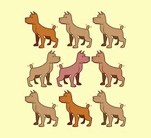 nine dogs with their tails wagging by jazzydevil