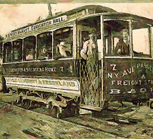 A digital painting of a Street Car, Washington, D.C. in the 19th century by Dennis Melling