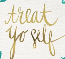 Treat Yo Self – Gold & Turquoise Sticker