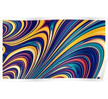 Color and Form - Curved Waves Flowing Lines  Poster