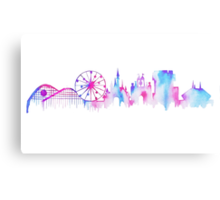 Disneyland California Watercolor Skyline Silhouette Illustration Metal Print