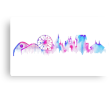 Disneyland California Watercolor Skyline Silhouette Illustration Canvas Print