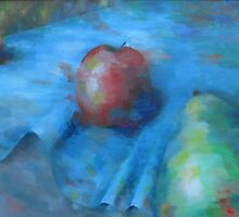 Fruit On A Blue Cloth by Jane Adrianson