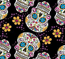 Sugar Skull Pattern BLACK by HolidaySwagg