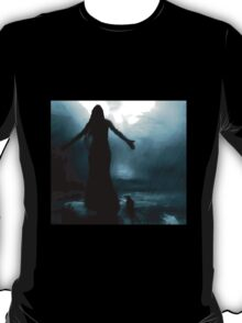 celtic goddess morrigan crow raven rain water woman animal mythical T-Shirt