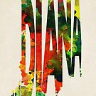 Indiana Typographic Watercolor Map by A. TW