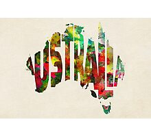 Australia Typographic Watercolor Map Photographic Print