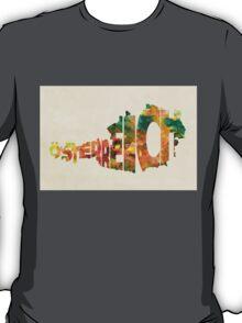 Austria Typographic Watercolor Map T-Shirt