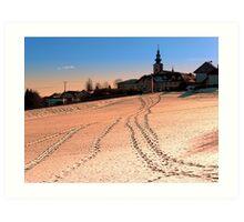 Beautiful village in winter wonderland | landscape photography Art Print