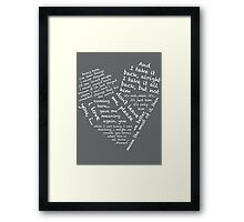 Quotes of the Heart - Janto (White) Framed Print
