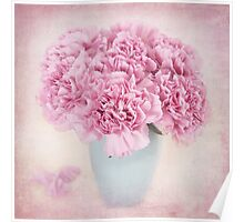 A beautiful bouquet of mauve Carnations Poster