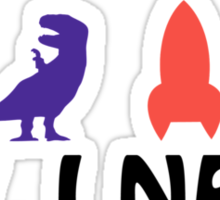 All I Need (beer, dinosaur, rocket, guitar) Sticker