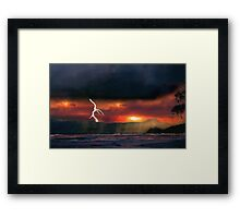 sunset beach storm lightning ocean water trees mountain landscape seascape Framed Print