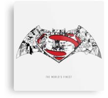 Batman Superman Illustration Light Metal Print